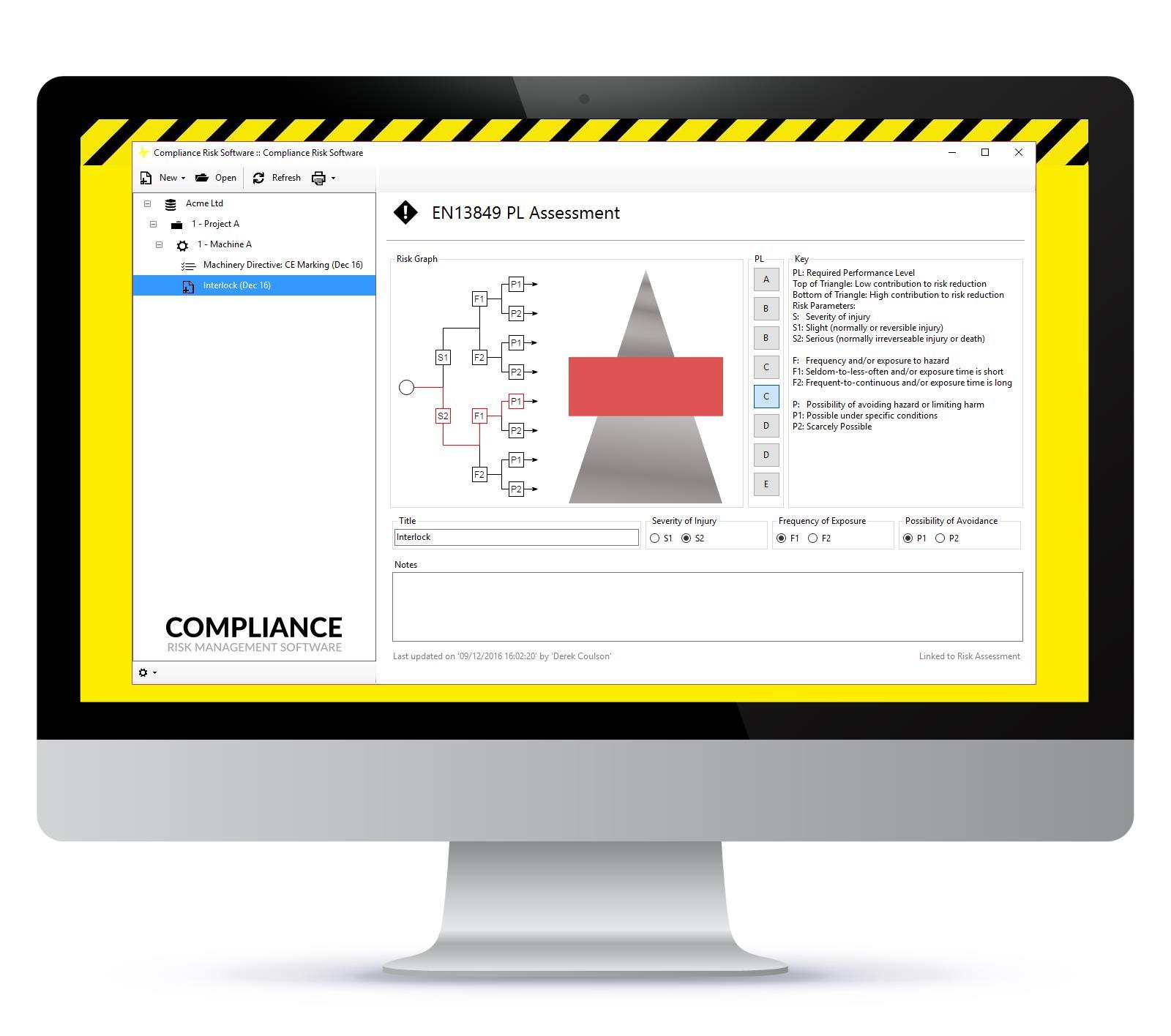 screenshot of en 13849 functionality in the software